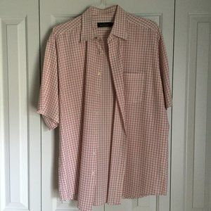 Red and White Bugatchi Shirt | Size XXL